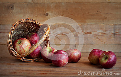 Apples in a basket on a wooden background