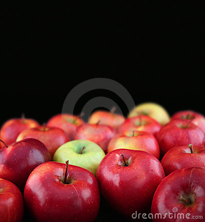 Apples on black background