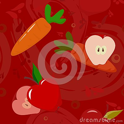 Apples and carrots on dark-red background