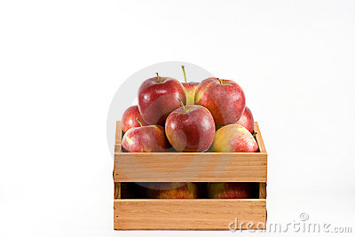 Apples in a crate.