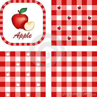 Apples & Gingham Seamless Patterns