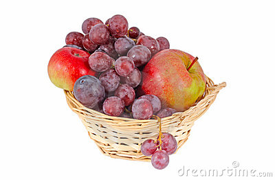 Apples and grapes in a baske