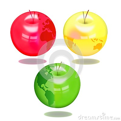 Apples with the image of globe