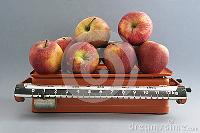 Apples in  kitchen scales