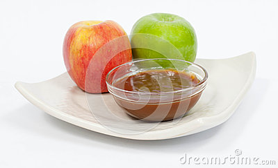 Apples with melted caramel