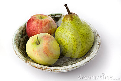 Apples and pear on the plate