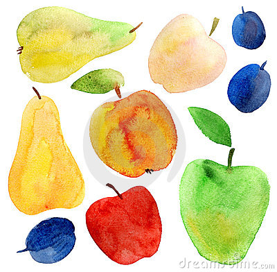 Free Apples, Pears And Plums Watercolor Set Royalty Free Stock Photo - 23169975