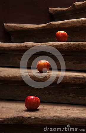 Apples on stairs