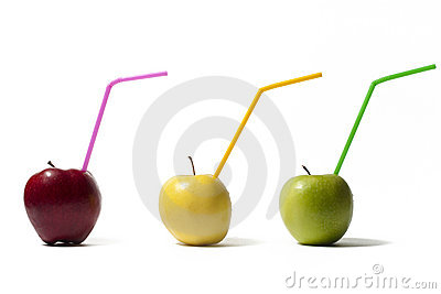 Apples With Straws Royalty Free Stock Photo - Image: 12734045