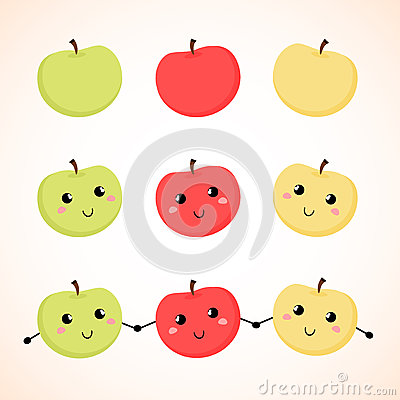 Apples. Vector illustration. Background.