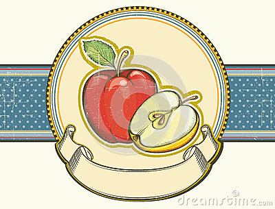 Vintage apples label on old paper background textu