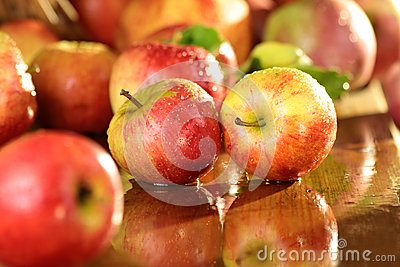 Apples on a wet table