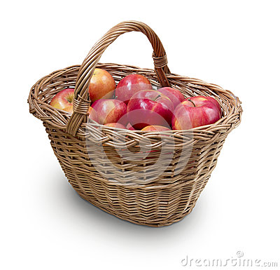 Apples in wicker with precise clipping path