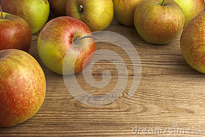 Apples on wooden table