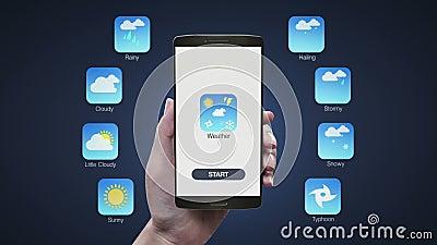 Application émouvante de prévisions météorologiques sur le mobile, smartphone illustration de vecteur