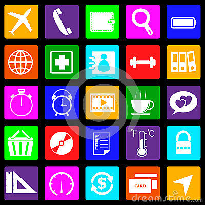 Application colorful icons on black background. Se