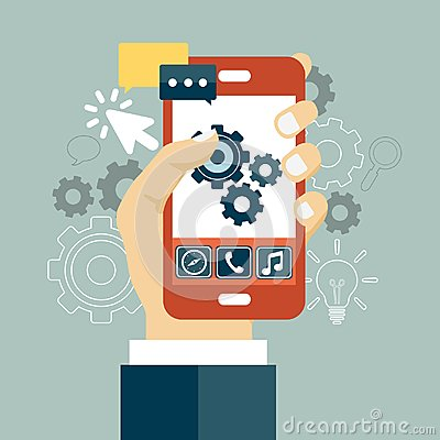 Free Application Development Icon. Concept To Building Successful Business. Mobile Phone And Gears On The Screen. Flat Vector Royalty Free Stock Image - 116903716