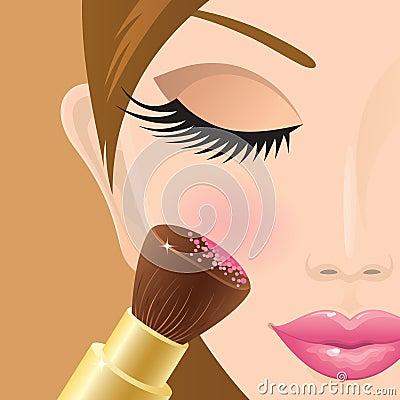 Application du fard à joues