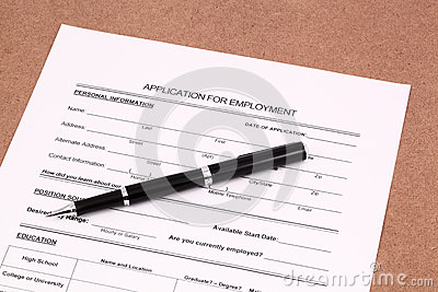 Application form with pen