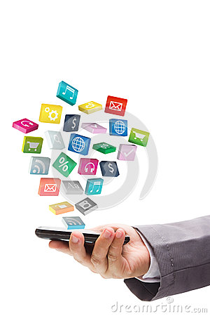 Application icons with mobile phone