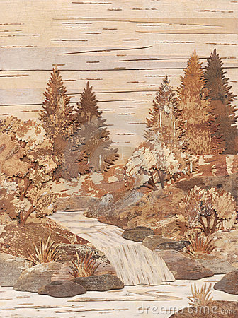 Application from slices of a birch bark: Falls