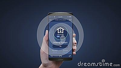 Application Touch Smart Home électroménager dans les téléphones mobiles, les smartphones, les systèmes de chauffage, le contrôle  illustration stock