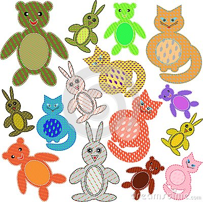 Applications in the form of animals from a fabric