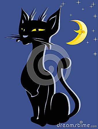 Applique with a black cat