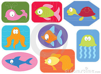 Applique fabric with cartoons water animals.
