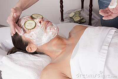 Applying face cream