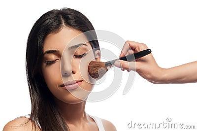 Applying Makeup and Blush