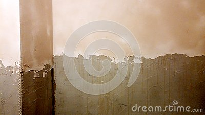 Applying plaster on the walls Stock Photo