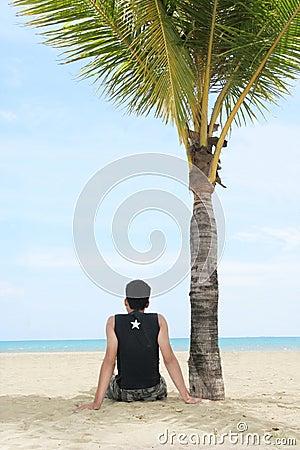 Appréciez sur la plage tropicale