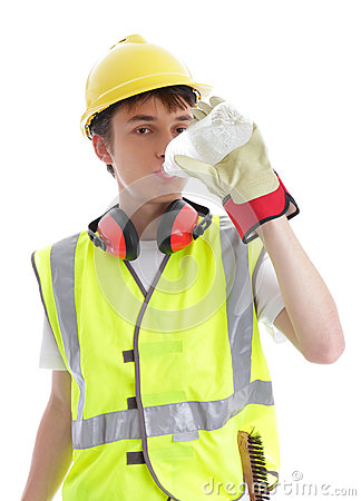 Apprentice builder drinking ice cold water
