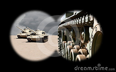 Approaching Army Tanks Through Binoculars