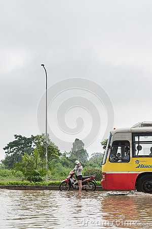 Approaching Bus Editorial Stock Image