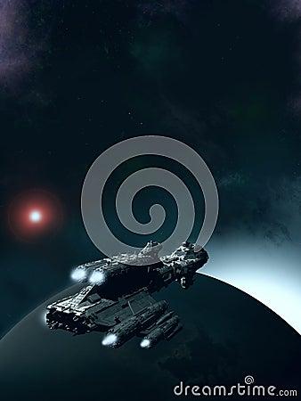 Approaching Dawn - Spaceship in Orbit