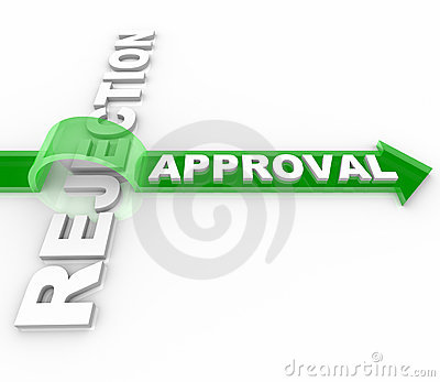 Approval vs Rejection - Arrow Jumps Over Word