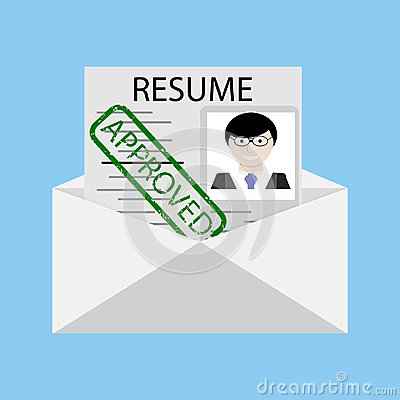 Free Approved Stamp On Resume In Envelope Vector Royalty Free Stock Image - 111241126