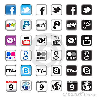 Free Apps Buttons For Social Networking Stock Photography - 20305222