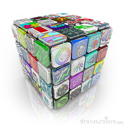 Free Apps Cube Of Application Software Tiles Royalty Free Stock Photo - 23724015