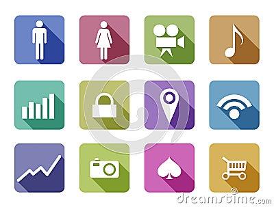 Apps Flat design vector icon set mobile applicatio