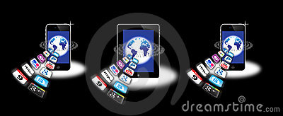 Apps on a mobile network Editorial Stock Photo