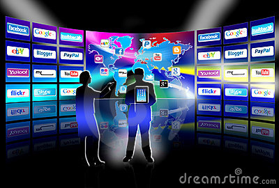 Apps mobile network video wall presentation Editorial Image