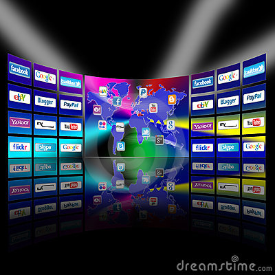 Apps mobile network video wall presentation Editorial Stock Photo