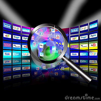 Apps mobile network video wall presentation Editorial Stock Image