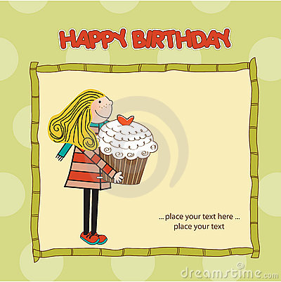 Appy Birthday card with cute girl and cupcake