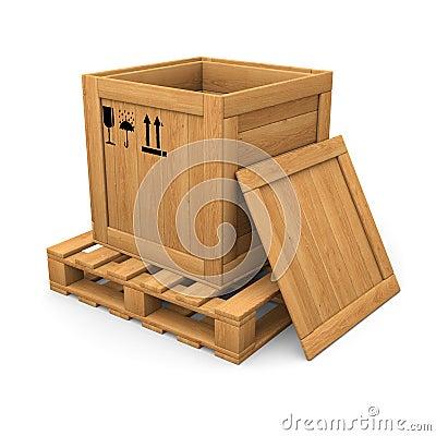 Apra di legno con la scatola della stampa sul pallet