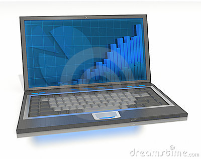 Apra il computer portatile con i grafici e le barre sullo schermo