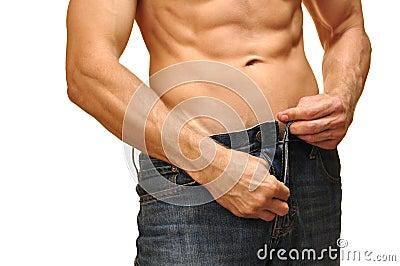 Apra la chiusura lampo dei jeans